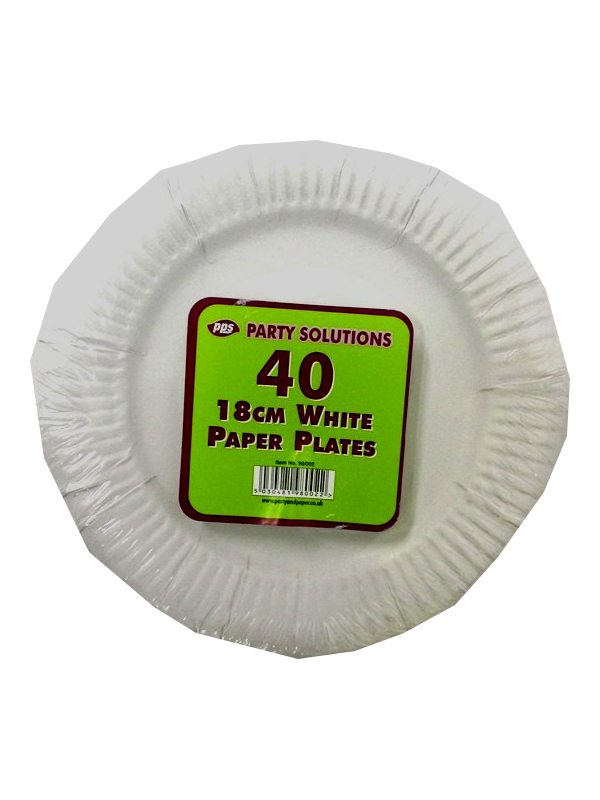 Image of 18cm White Paper Plates 24x40'S 98002