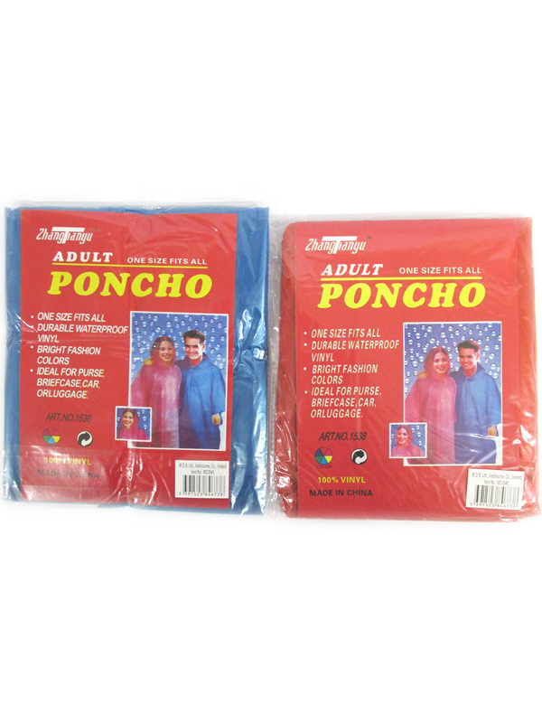 Image of Adult Poncho Red / Blue Pk24 Md3545
